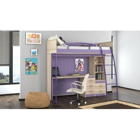 Детская кровать-чердак Индиго с рабочей зоной ГН-145.009