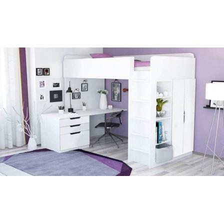 Детская кровать-чердак Polini Simple с письменным столом и шкафом, белый / цветные вставки
