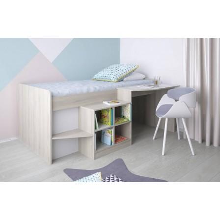 Детская кровать-чердак Polini Simple со столом и полками