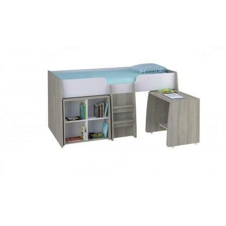 Детская кровать-чердак Polini Simple 4100 с выдвижными элементами