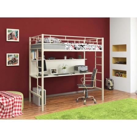 Детская железная кровать-чердак со столом Амстердам 4С