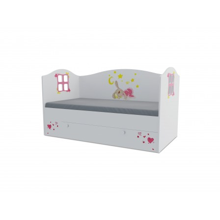 Детская кроватка Зайка Домик KD-16Y (ящик ЛДСП выкатной)