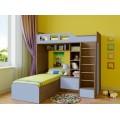 Угловая двухъярусная детская кровать Астра-4 Дуб Шамони