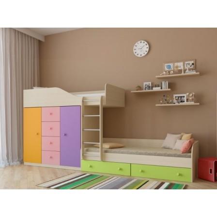 Двухъярусная детская кровать со шкафом Астра-6