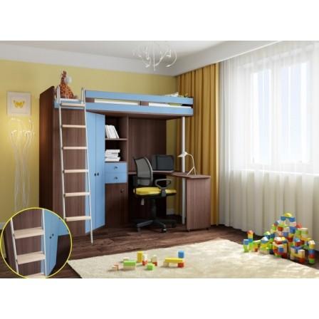 Высокая кровать-чердак М-85 Дуб Шамони