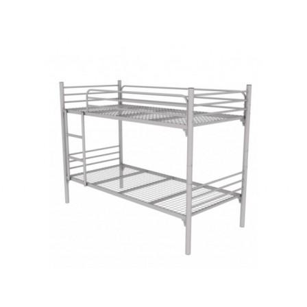 Металлическая двухъярусная детская кровать с ограждениями и лестницей Лайт