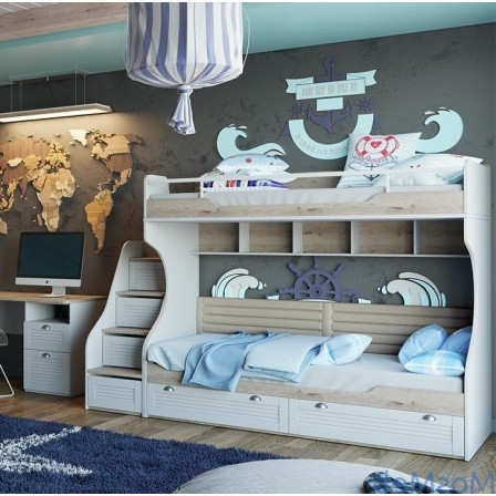 Кровать Ривьера СМ 241.11.12 двухъярусная с приставной лестницей