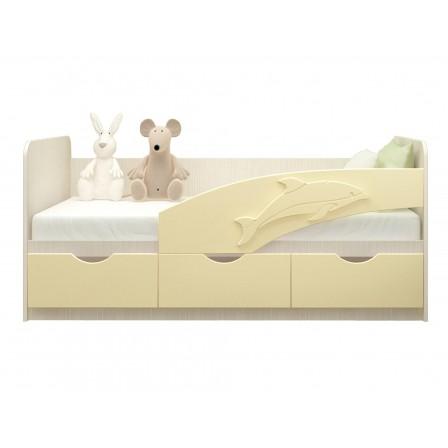 Детская кровать-диван Дельфин 80х200, ваниль металл