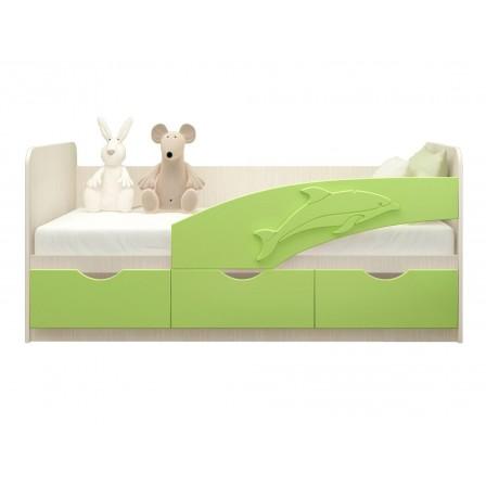 Детская кровать-диван Дельфин 80х200, салатовая матовый
