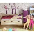 Детская кровать-диван Дельфин-1 МДФ 80х160, фиолетовый металл