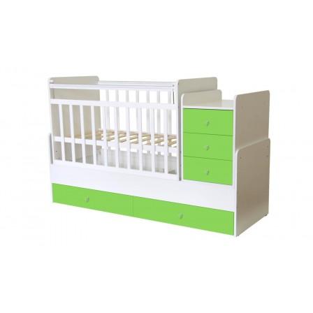 Кроватка-трансформер Фея 1100, белый / лайм