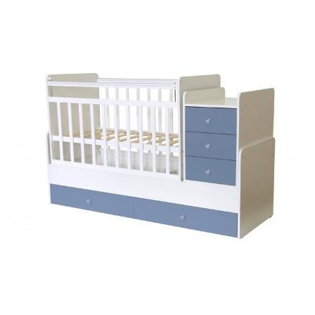 Кроватка-трансформер Фея 1100, белый / синий