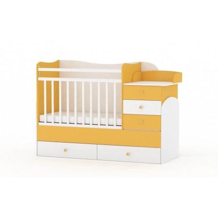 Кроватка-трансформер Фея 1400, белый / солнечный