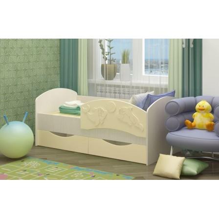 Детская кровать от 3 лет Дельфин-3 МДФ ваниль (80х160)