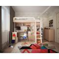 Угловая кровать-чердак с рабочим местом и шкафом Мультиплекс
