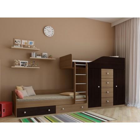 Двухъярусная детская кровать со шкафом Астра-6 Дуб Шамони