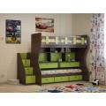 Детская двухъярусная выкатная кровать с рабочим местом Милана-10