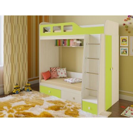 Детская двухъярусная детская кровать со шкафом Астра-3